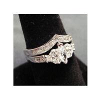 NEW 2 Ring Set Wedding Band Marquise Cut Silver Platinum Rhodium CZ Sz 5, 6, 8,9