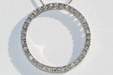 Diamond Pendant Necklace Open Circle Life in 14K White Gold Approx- 0.50 CTW.