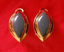 ~ELEGANT! Rare VTG Classic LANVIN Paris Gold Plated Grey Enamel EARRINGS Signed