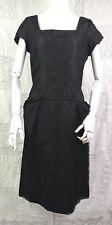 VTG 60s Little Black Dress Wiggle Skirt Lace Overlay Square Neck VLV Pin Up M