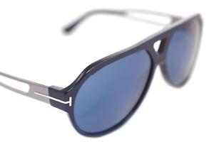 Tom Ford Paul TF778 90V Herren Groß Quadrat Pilot Sonnenbrille Blau Silber Leder
