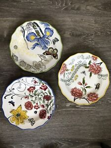 Anthropologie Set Of 3 Yellow Butterfly Insect Floral Flower Print Dinner Plates