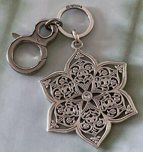 Brighton CASABLANCA Flower Crystals Silver Key Chain Fob Purse Clip NWOT