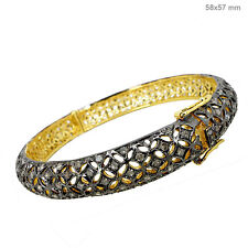 Pave 3.84 Ct Diamond Bangle 925 Sterling Silver Victorian Style 14K Gold Jewelry