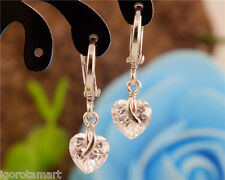 Zirconia Pair Women Clear Crystal Heart Drop Dangle Earring Hoop Silver Plated