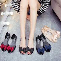 Women Girls Summer Beach Jelly Flats Sandals Slip On Clear Bowknot Shoes Slipper