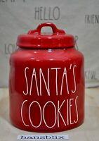 Rae Dunn SANTA'S COOKIES Red Large Chubby Canister Christmas Holiday NEW 2019