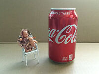 Vintage Miniature Dolls White Metal Chair Crochet Dress Doll House