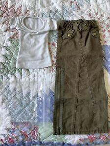 Danny Choo SMART DOLL CHAOS Off White Tee Top & Double Slit Green Skirt