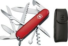 Swiss Army Knife With Leather Pouch, Red Huntsman, Victorinox 53820, New In Box