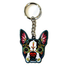 Boston Terrier Dog Metal Key Ring Keyring Cali Pretty in Ink
