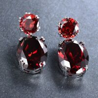 Natural Fire Red Garnet Gemstone Silver Woman Stud Hook Earrings Xmas Jewelry