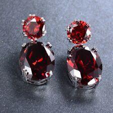 Natural Fire Red Garnet Gemstone Silver Woman Stud Hook Earrings Xmas Jewelry