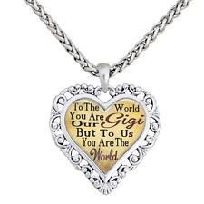 Gigi You Are The World To Us Silver Chain Necklace Heart Jewelry Grandmother