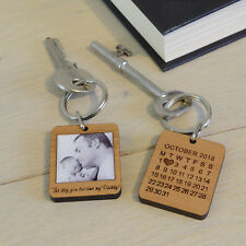 Personalised Wooden Photo Keyring Dad The Day You Became My Daddy New Dad Gift