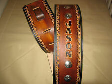 CUSTOM LEATHER GUITAR STRAP WITH YOUR NAME 4 INCHES WIDE BROWN & BLACK/ CONCHOS