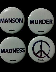 2015 SDCC Comic EXCLUSIVEAquarius Charles Manson Promo Button Set of 4