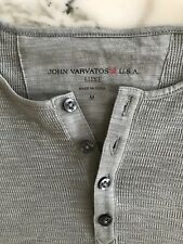 John Varvatos LUXE Long Sleeve Henley Gray/Green Medium M $148 msrp