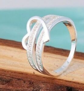 925 Silver Simple Heart Love Crystal Solid Wedding Band Ring UK Size M-S