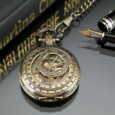 Reloj de bolsillo PACIFISTOR Esqueleto Mecánico cadena de bronce de estilo vintage y retro Steampunk