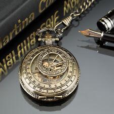 PACIFISTOR Skeleton Mechanical Pocket Watch Retro Vintage Steampunk Bronze Chain