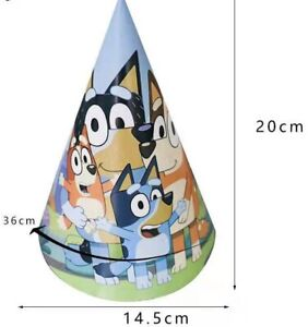 BLUEY HATS DOG PARTY HATS BIRTHDAY PARTY LOLLY TREAT LOOT BAG 6 PACK DECORATION