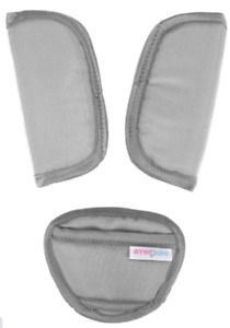 3 Piece Baby Stroller Car Seat Strap Covers & Crotch pad Universal light grey