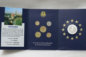 ESTONIA COIN SET + STERLING SILVER PROOF MEDAL B38