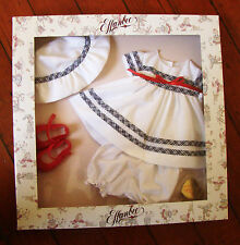 TONNER/EFFANBEE BABY BUTTON NOSE PIQUE PICNIC OUTFIT AT8400 White Suit Red Shoes