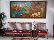 260x125 cm selten riesig orientalisch Kunstwerk Holzbild Wanddekoration Wandbild