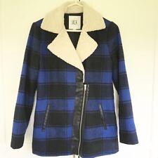 Jack By BB Dakota XS Blue Black Plaid Faux Fur & Leather Detail Coat
