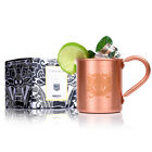 New Handmade Pure Copper Moscow Mule Mug Glass Cup 16oz Bar Restaurant Wine Beer