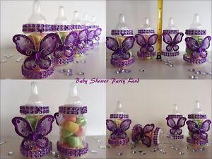 Baby Shower 12 Purple Butterfly Bottles Favors Prizes Girl Decoration Recuerdos