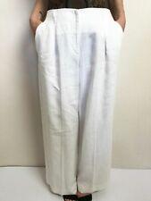 CARLA ZAMPATTI white linen pants wide leg palazzo SZ 6