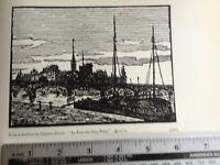 1920s Woodcut print Le Pont des Arts Paris by Gustave Zevort