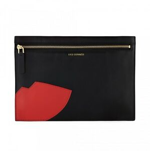 Lulu Guinness Smooth Black Leather Abstract Lips Naomi Clutch Bag Zip RRP £225