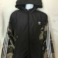Adidas Mens Jacket Black Camouflage Hooded Full Zip Mesh Lined Camo Fall 2XL New