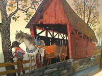 H. Hargrove Canvas Oil Original serigraph covered bridge amish horses Signed