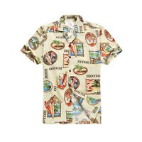 Made in Hawaii Men Aloha Shirt Luau Cruise Hawaii Surf Palm House in Cream