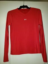 Under Armour Red Fitted V Neck Long Sleeved Size S Dri Fit