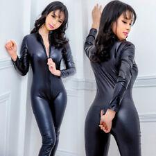 Lady Faux Leather Catsuit Jumpsuit Leotard Bodysuit Open Crotch Clubwear Costume