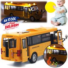 Metal Car Toys Kids Pull Back Sound Light School Bus Model Open Doors