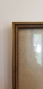 """Vintage Mid Century Modern Gold Pressed Picture Frame 8.5 x 7"""" picture size Wood"""