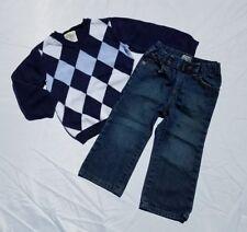 Crazy 8 TCP Boys Sweater Jeans Set Size 2T Navy Sweater Dark Wash Denim Bootcut