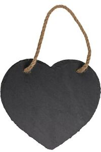 Schiefertafel in Herzform mit Juteband zum Aufhängen & Kreide zum Beschriften