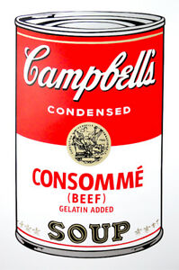 ANDY WARHOL Pop Art - Sunday B Morning - Campbell's Soup Can Consommé + COA