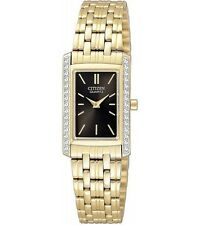 New Citizen EK1122-50E Ladies Dress Crystal Gold Tone Stainless Steel Watch