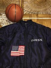 RARE Vintage Guess USA Flag JACKET winter Puffer puffy coat Large L #31