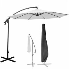10' Ft Hanging Umbrella Patio Sun Shade Offset Outdoor Market W/ Cross Base Tan