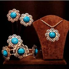 4PCS Necklace Earrings Ring Bracelet wedding Jewelry Set women gift flower Style